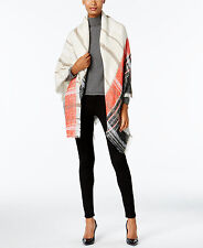 VINCE CAMUTO Plaid Square Blanket Wrap Shawl Black Beige Orange Taupe NWT $48