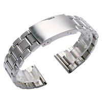 Silver Stainless Steel 20mm 22mm Wrist Watch Band Strap Men Women+2 Spring Bars