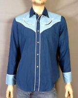 vtg 70s Levis 2 Tone Blue Western Rodeo Shirt Smiley Pocket Pearl Snap USA sz L