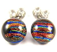 """DICHROIC GLASS Earrings Orange Copper Rust Gold Teal Striped Post 1/4"""" 8mm STUDS"""