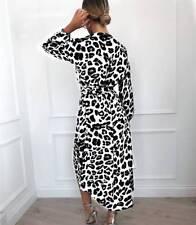 Women Leopard Print V Neck Wrap Dress Ladies Long Sleeve Lace UP Midi Dress10-18