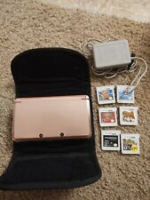 Nintendo 3DS Pearl Pink lot 6 games charger carrying case Tested