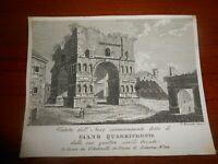 1830 Acquaforte F. Rinaldi Roma veduta dell'Arco di Giano Quadrifronte