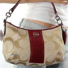 NWT Coach Signature Stripe Demi Shoulder Hand Bag Crossbody 28206E New RARE