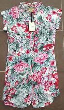New Evita Gold Floral Tropical Print Cotton Playsuit Shorts Shirt UK 8 AN99