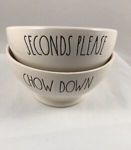 NEW Rae Dunn Bowls Seconds Please & Chow Down Set of 2