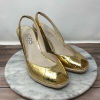 Kors Michael Kors Vivian Gold Leather Peep Toe Slingback Wedges Womens Size 8.5