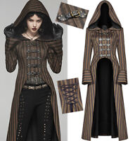 Steampunk Long Striped Hooded Coat Gothic Neo Victorian Corset Buckles PunkRave