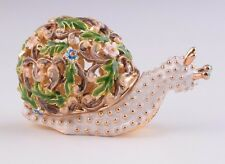 Snail Faberge trinket box hand made by Keren Kopal with Austrian crystals