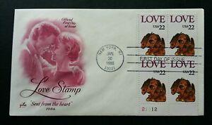 [SJ] USA Love Stamp 1986 Puppy Dog Pet Animal Valentin Couple (stamp FDC)