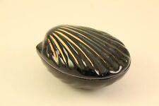 Vtg Jean Louis Coquet Limoge Porcelain China Black Clam Shell Lidded Trinket Box