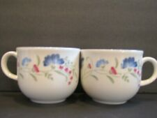 """Royal Doulton Windermere Expressions Set of 2 Cups - 2 3/4"""" Pink & Blue Flowers"""