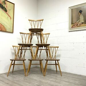Set Of Six (6) Midcentury Ercol Candlestick Windsor Model 376 Dining Chairs