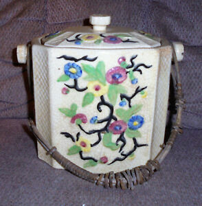 Antique Japan  Biscuit Jar w/ Rattan Wicker handle