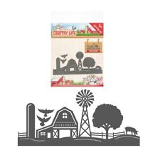 Farm Border metal craft die cutting dies Yvonne Creations windmill barn silo pig