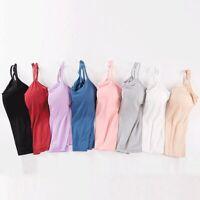 Lady Long Cami With Built in Shelf Bra Adjustable Strap Layering Basic Tank Vest