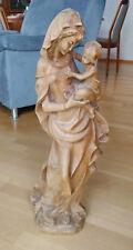 Madonna mit Kind- Holz-Statue-Marienstatue-Muttergottes-Jesus-Holzfigur-Maria