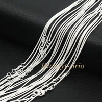 """Wholesale Lots 5Pcs 925 Sterling Solid Silver 1mm Snake Chain Necklaces 16""""-30"""""""