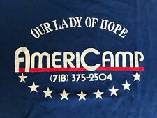 Rare EUC 70s Vintage Americamp Our Lady of Hope Camp Blue T-shirt, L Made in USA