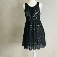 Free People Black Fit and Flare Sleeveless Lace Dress Size 4 Casual