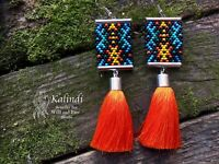 Native american style Beadwork, native style earrings, beaded earrings seed bead