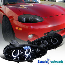 2001-2005 Mazda Miata MX5 Smoke LED Halo Projector Headlight Glossy Black Pair