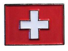 Swiss Switzerland National Flag (Suisse) Metal Enamel Lapel Pin Badge 20mm