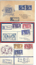1937 1948 Royal Coronation & Silver Wedding FDC Lot of 3 Registered w/ Cachets*