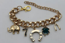 Women Jewelry Gold Metal Chains Bracelet Luck Charms Horseshoe Leaf 7 Bone Vegas