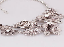 Fashion ancient Silve chain Bib Statement Chunky Flower Pendant lady Necklaces