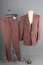 """Vtg Men's Nos 1970s Burgundy Plaid Leisure Suit Jacket 37 Long Pants 30"""" 70s"""