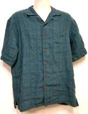 TOMMY BAHAMA Green Check Short Sleeve Linen Camp Shirt - Medium