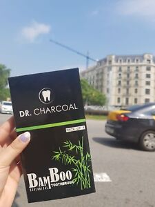 Eco Vegan Bamboo Charcoal Toothbrush Antibacterial Soft Fine Gentle Oral Brush