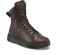 Doc Martens Cherry Red Crackle Sueded Mix 10 eye hi-top boot/shoe UK8 US10L US9M