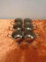 6 x Metal Tea Glass Holder - Antique Design - Vintage Style