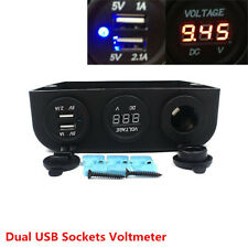 Car 2-USB Cigarette Lighter Socket Charger Adapter LED Voltmeter 12V/20A 24V/10A