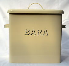 "Welsh enamel medium square BREAD BIN with lid, ""BARA"",  Cymru/Wales"