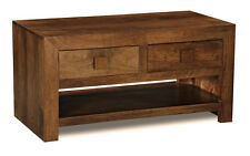 LIVING ROOM FURNITURE DAKOTA DARK SOLID MANGO 2 DRAWER COFFEE TABLE (101N)