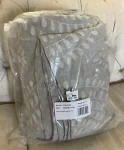 New Restoration Hardware Palmette Embroidered Linen Cal King Duvet $619 Fog Mist