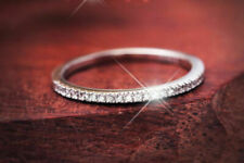 14K White Gold Over 0.50 Ct Round Cut Diamond Half Eternity Wedding Band Ring