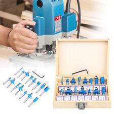 15pcs Router Bit Set Kit 14 Shank Tungsten Carbide Rotary Tool Wood Case