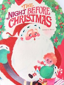 The Night Before Christmas by Moore Vintage MCM Christmas Cute Velvet Santa 1968