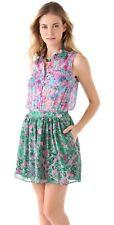Gryphon Mimi Sleeveless Silk Chiffon Dress in Blue Green Floral Print Size XS