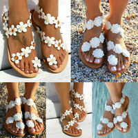 Womens Flats Floral Flower Flip Flop Beach Sandals Slipper Summer Shoes Size