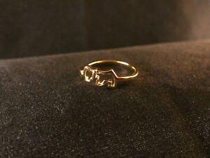 Ring 24 Karat Vergoldet Hund mit Herz Fingerring Gold Größenverstellbar Dog Love