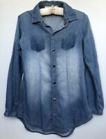 Roxy Size M Long Roll Up Sleeve Distress Denim Jeans Button Down Shirt Blue