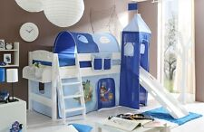 Lit mezzanine avec toboggan et tour KENNY Pin teinté blanc tissus Pirate bleu ci