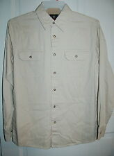 CREAM IVORY Mens Premium Quality WRANGLER Dbl Pocket WOVEN Shirt Small 34-36 *