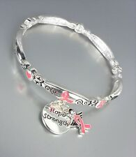 BREAST CANCER AWARENESS Pink Ribbon HOPE STRENGTH Charms Stackable Bracelet