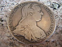 AUSTRIA 1780 MARIA THERESA & DOUBLE HEADED EAGLE, STERLING SILVER, COIN, C.